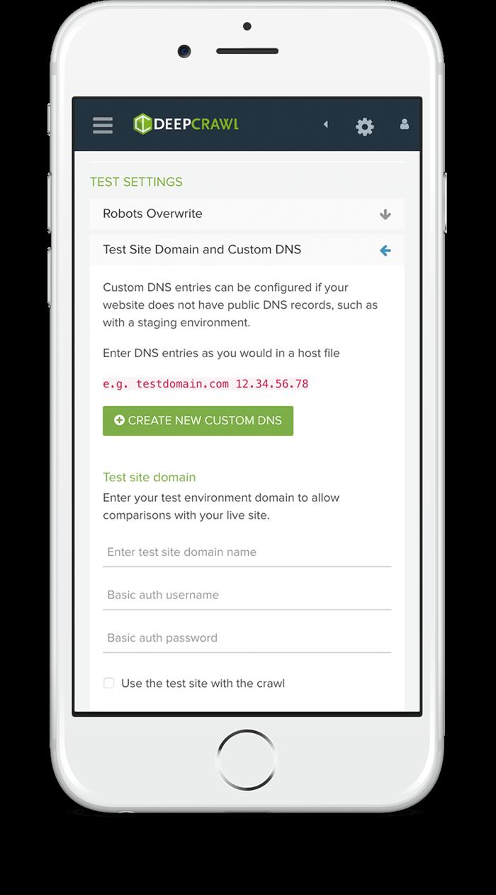 Iphone displaying deepcrawl website