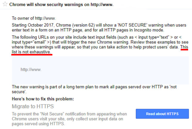 Chrome's Not Secure Message