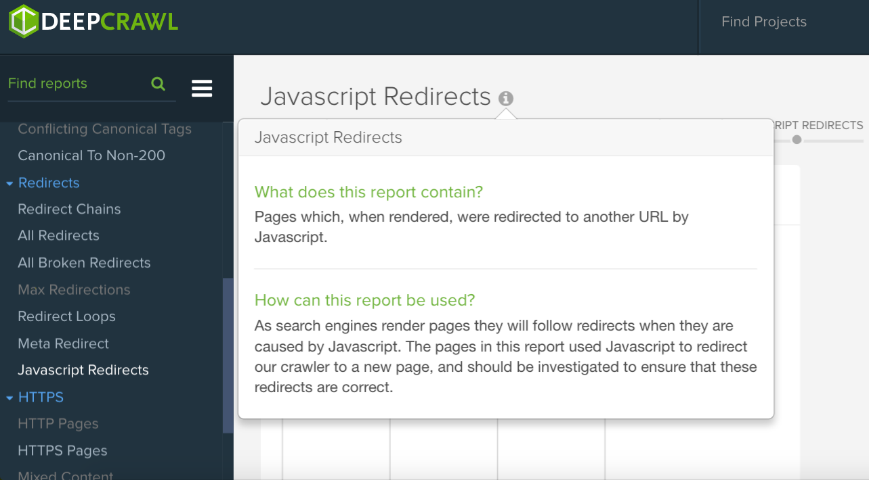 DeepCrawl JavaScript Redirects report