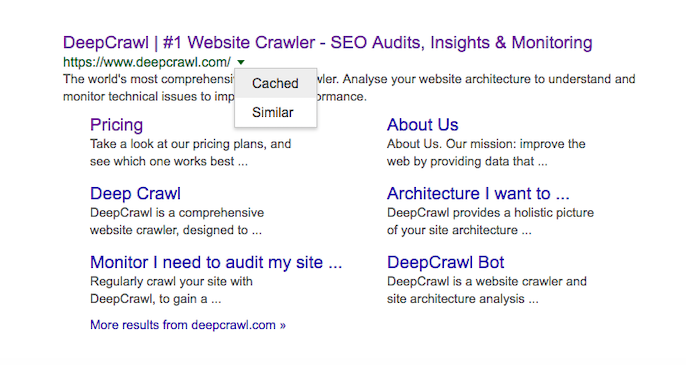 Checking a cached page in the SERPs