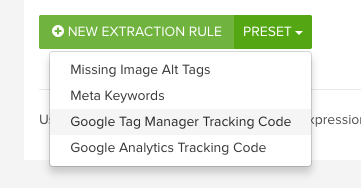 DeepCrawl Google Tag Manager Tracking Code custom extraction