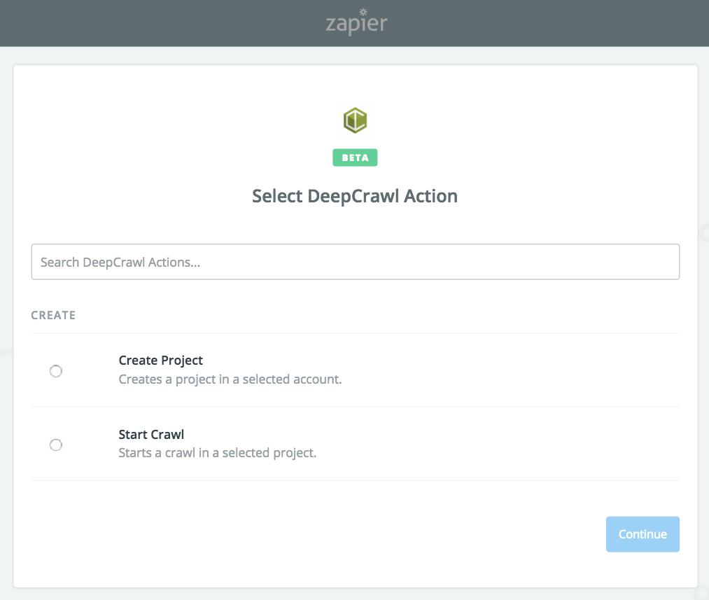 DeepCrawl as an Action In Zapier