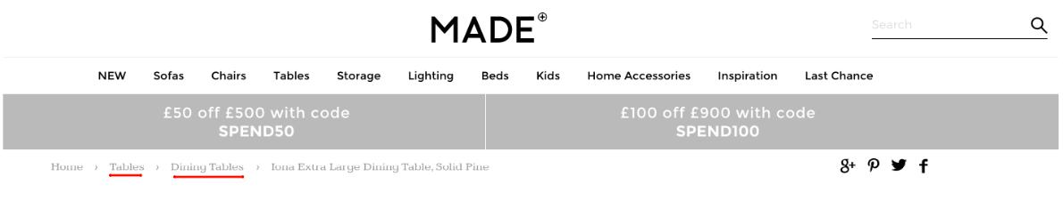 MADE.com internal linking
