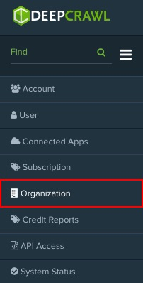 DeepCrawl Organization settings