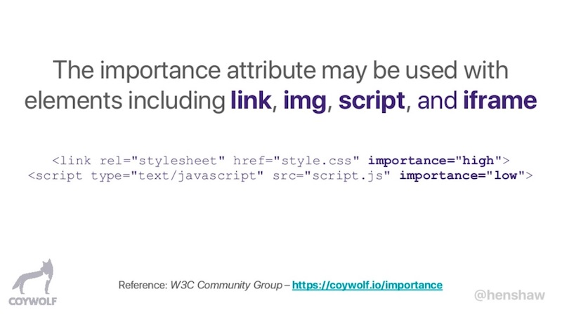 Chrome Priority Hints 'importance' attribute