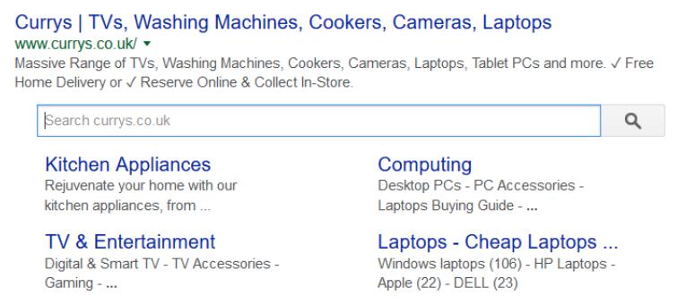 Google search sitelinks