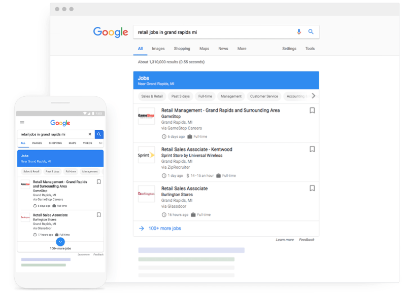 Google jobs search feature