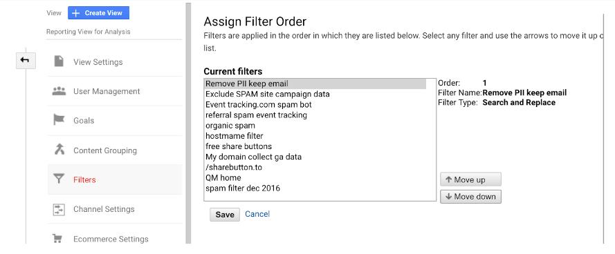 GA assign filter order
