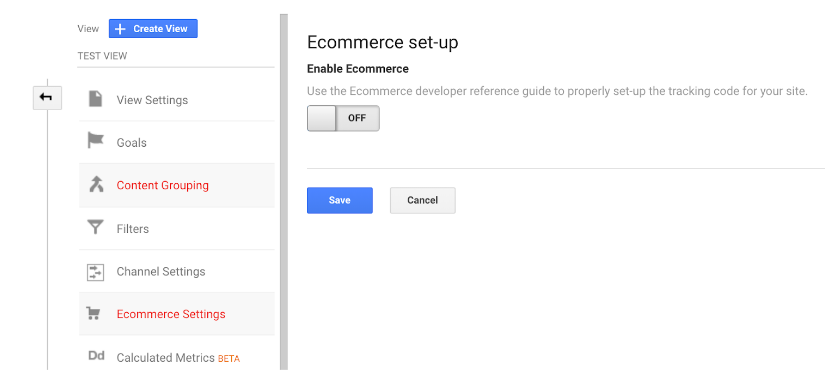 GA Ecommerce set up