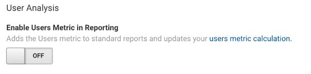 GA enable user metrics