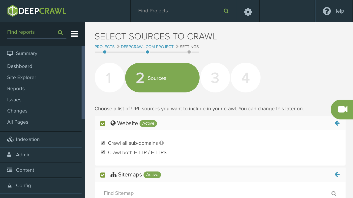 DeepCrawl - Crawl HTTP/HTTPS
