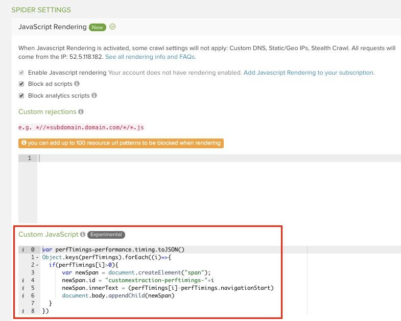 DeepCrawl custom JavaScript feature