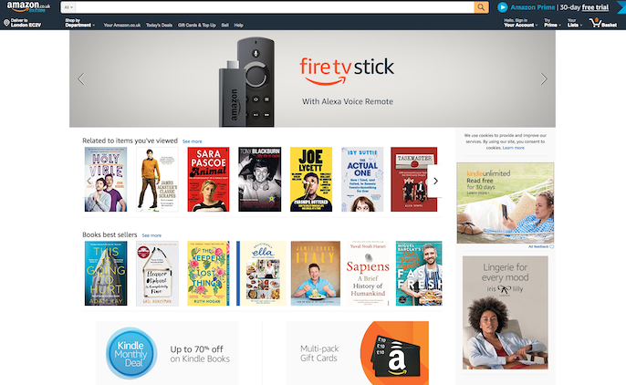 Amazon UK homepage