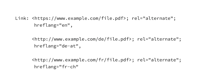 Hreflang example configuration in a HTTP header