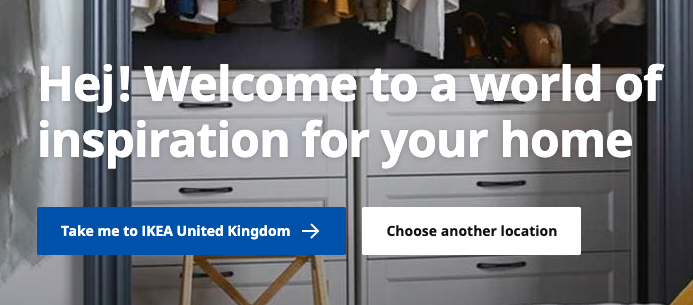 Ikea website country selector