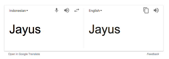 Jayus translated to 'jayus' in Google translate