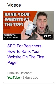 An example of an enhances appearence video in a Google SERP