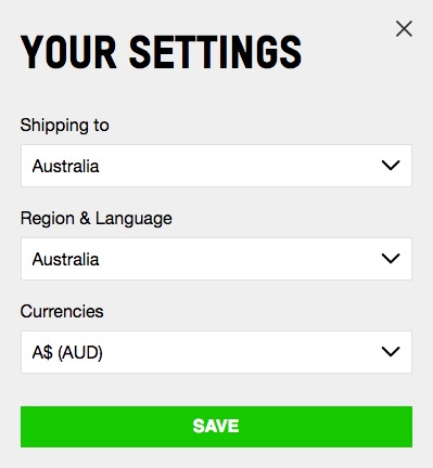 Example of a site showing a box where language and currency can be selected