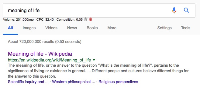 'Meaning of life' top Google search result