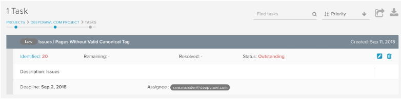 DeepCrawl Task Management