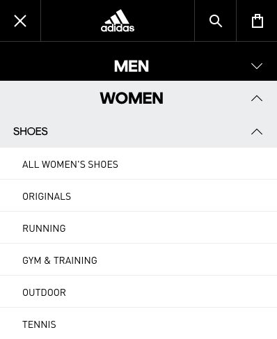 Adidas website navigation