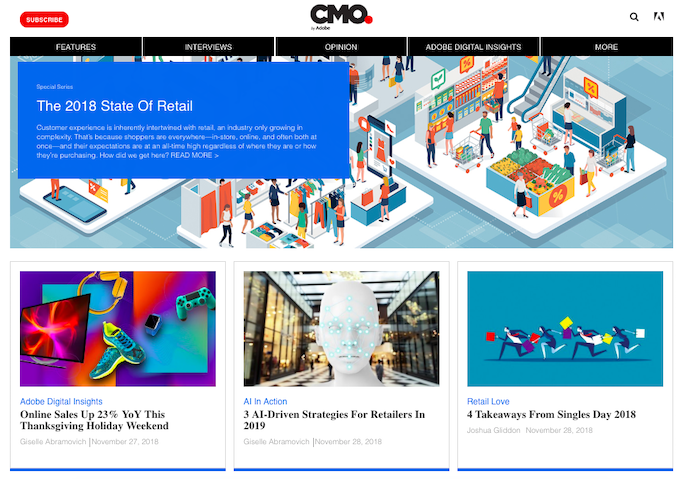 CMO by Adobe hub page