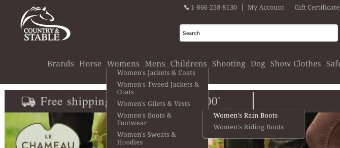 Country & Stable website navigation