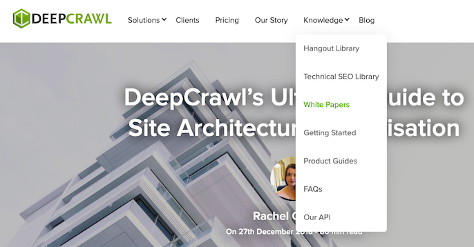 DeepCrawl website navigation