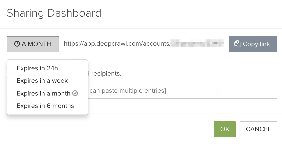 DeepCrawl Sharing dashboard