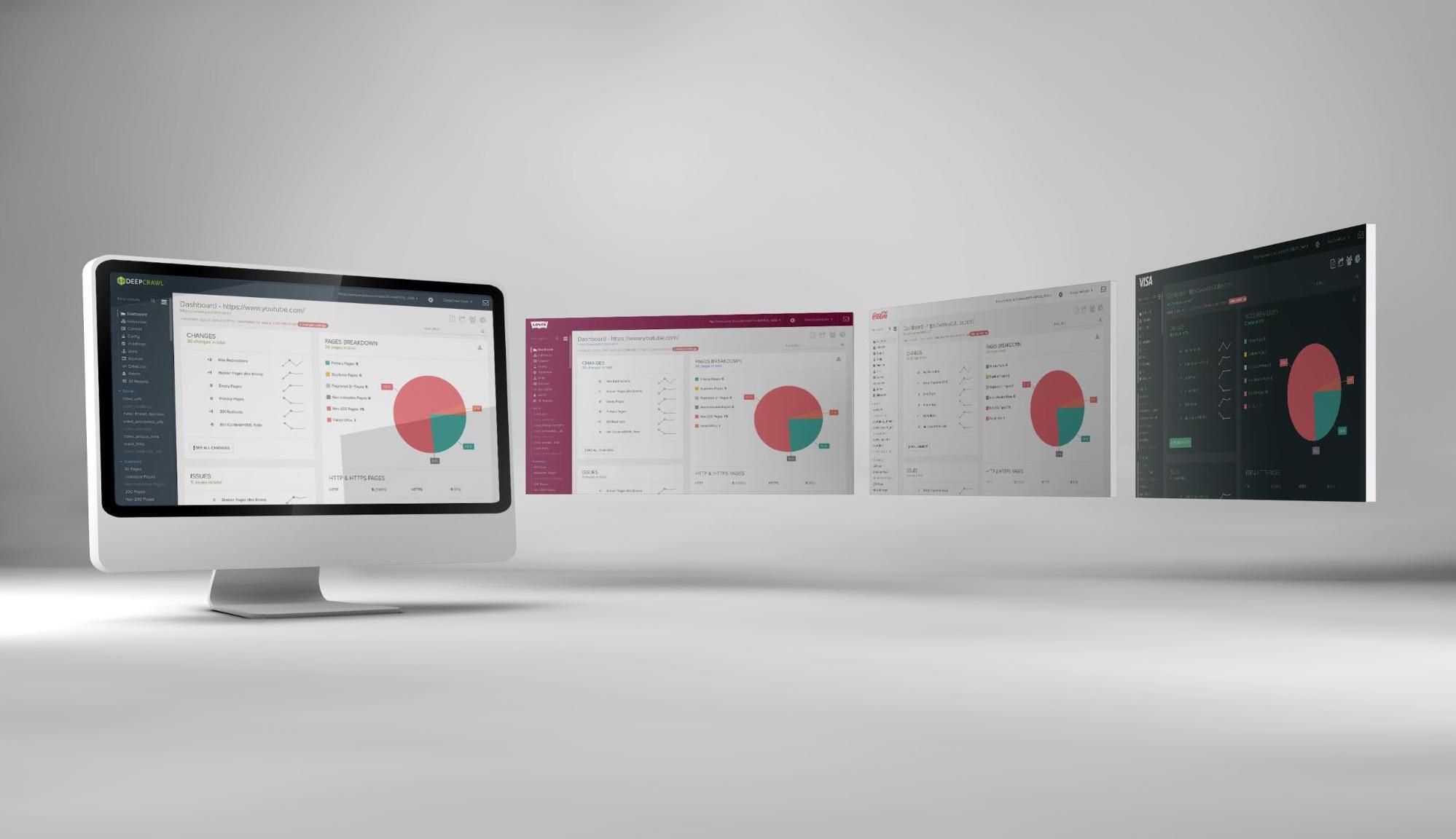 Screens showing DeepCrawl dashboards