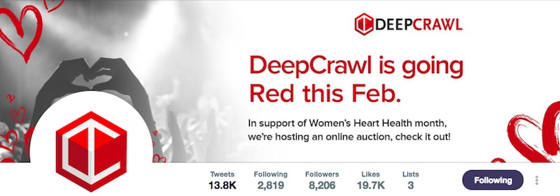 DeepCrawl's updated Twitter imagery for the Go Red campaign