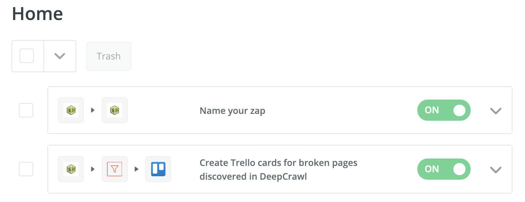 DeepCrawl Zapier