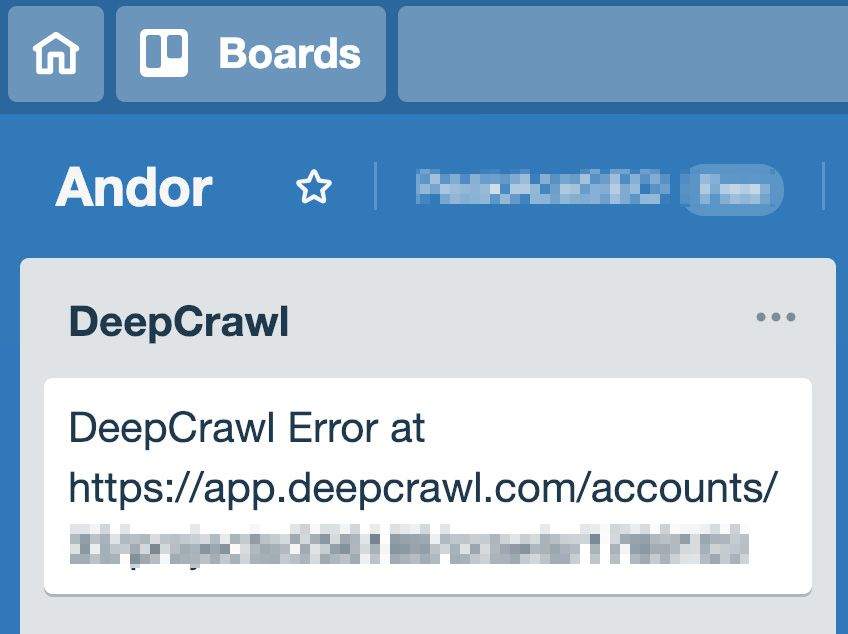 DeepCrawl issue in Trello