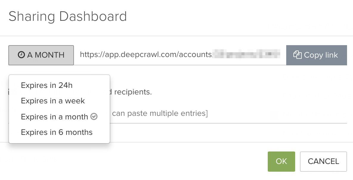 DeepCrawl Sharing dashboard