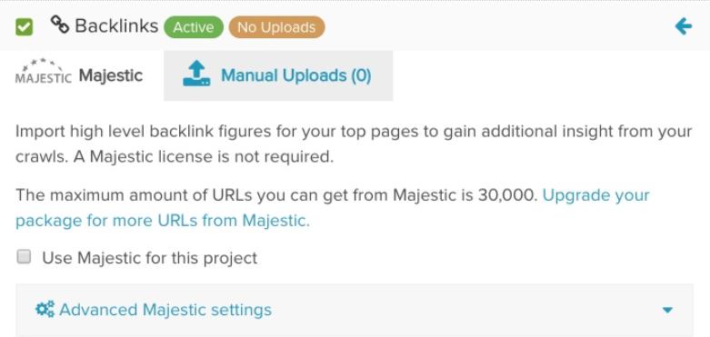 DeepCrawl Majestic integration