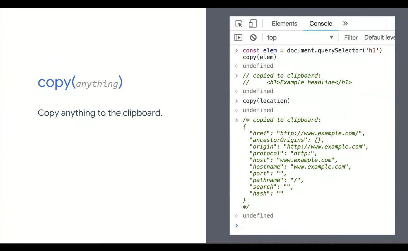 Chrome DevTools copy anything to clipboard