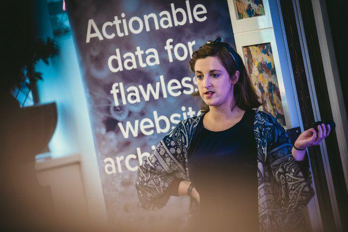 Cancer Research UK's SEO Manager Nancy Scott at DeepCrawl's digital breakfast