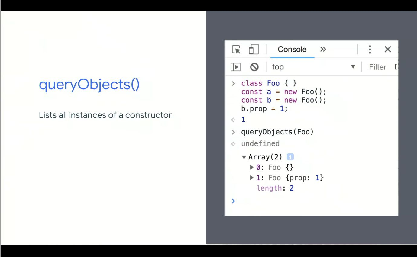 Chrome DevTools queryObjects