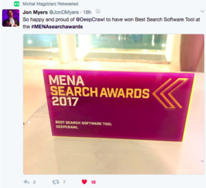 DeepCrawl Best Software Tool MENA Search Awards