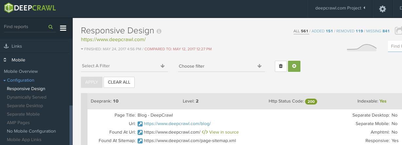 DeepCrawl Responsive Design Report