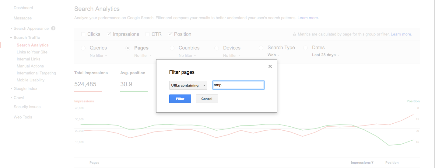 gsc search analytics amp pages