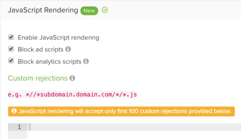 DeepCrawl JavaScript Advanced Settings