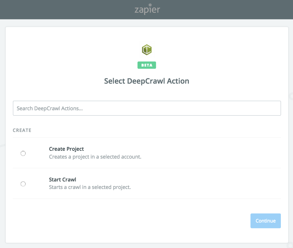 DeepCrawl as an Action In Zapier