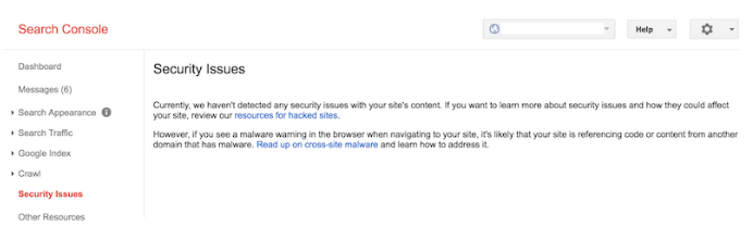 security warning in google search console