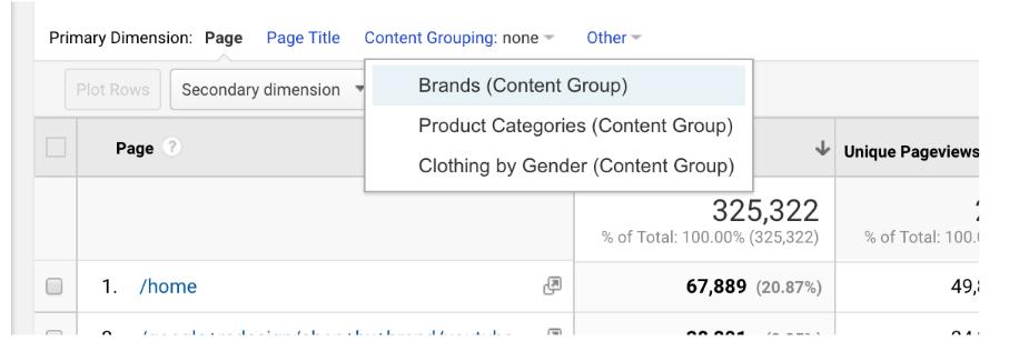 GA content grouping filter