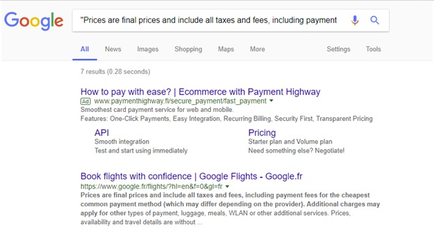 Google Flights indexing issues