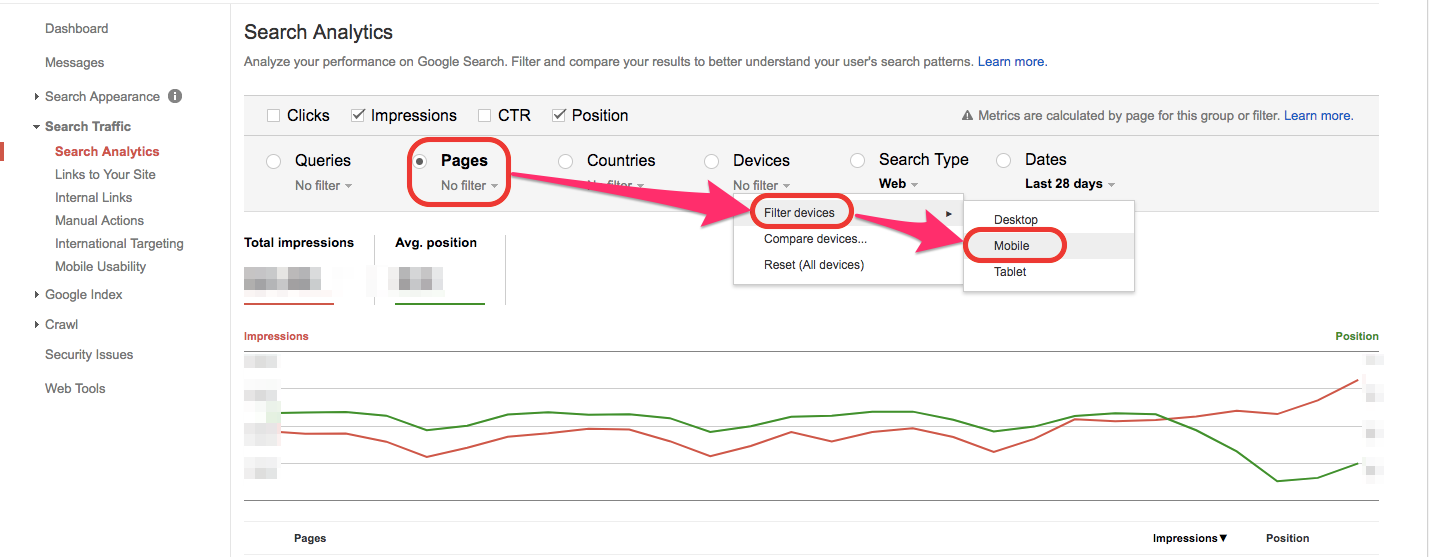 gsc search analytics mobile traffic