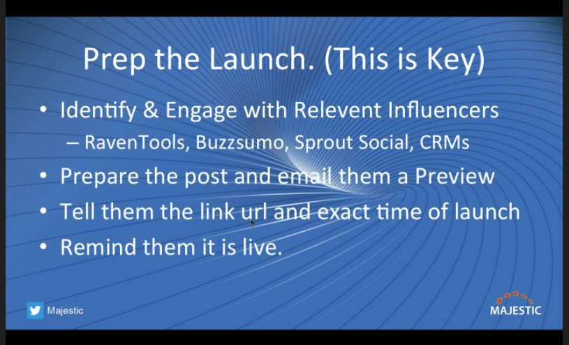 Prep the launch of your content