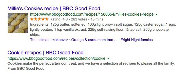 Cookie recipes in Google SERP