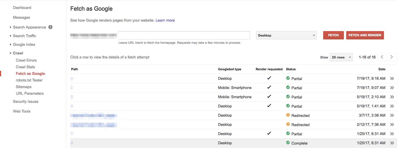 gsc Fetch as Google tool
